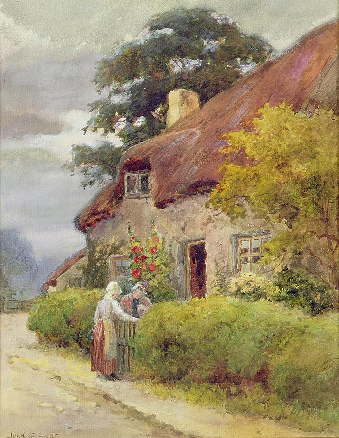 Thatched Cottage Painting - An Evening Gossip by Joshua Fisher