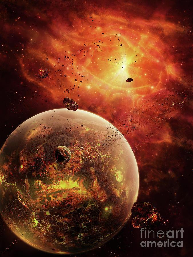 Artwork Digital Art - An Eye-shaped Nebula And Ring by Brian Christensen