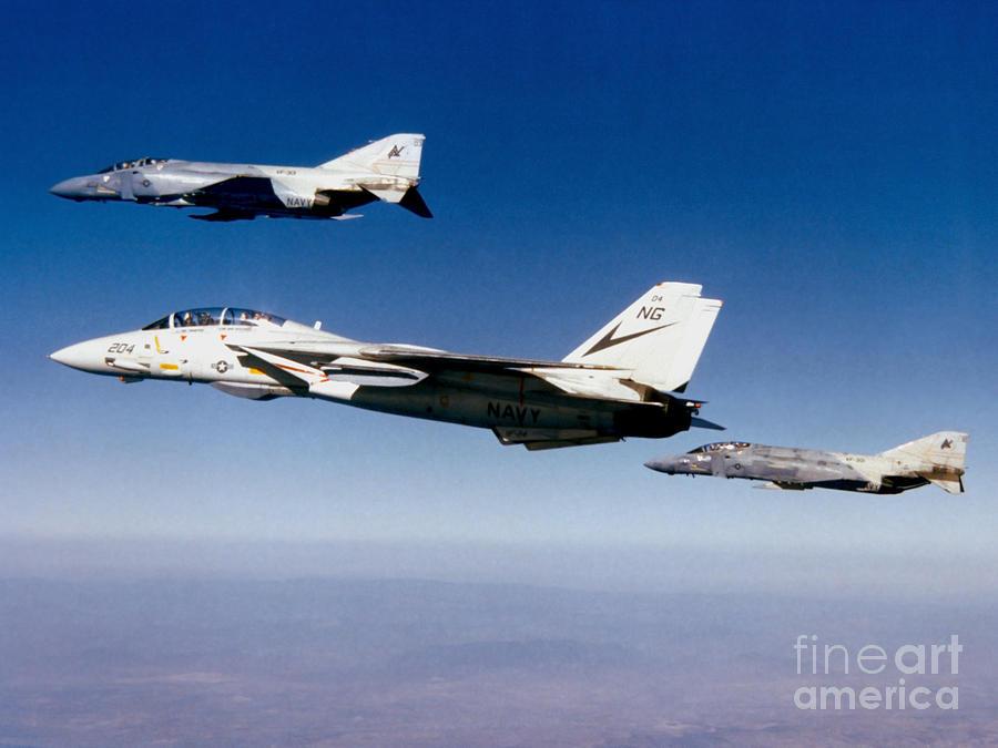 Military Photograph - An F-14 Tomcat And Two F-4 Phantom IIs by Dave Baranek
