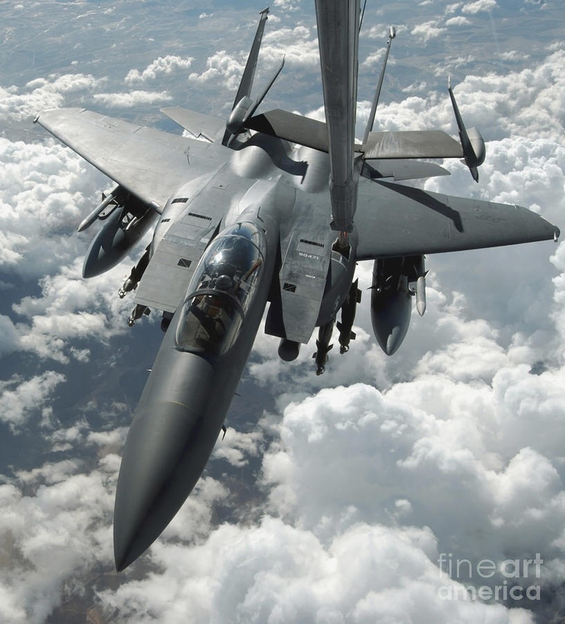 Color Image Photograph - An F-15 E Strike Eagle Receives Fuel by Stocktrek Images
