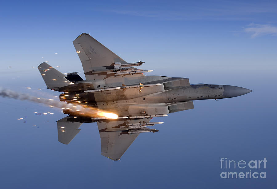 An F 15 Eagle Releases A Flare While Photograph By High G