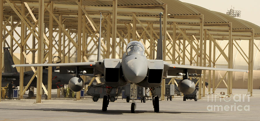 Southwest Asia Photograph - An F-15 Eagle Taxis Prior To A Training by Stocktrek Images