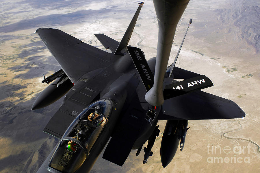Canopy Photograph - An F-15e Strike Eagle Aircraft Receives by Stocktrek Images