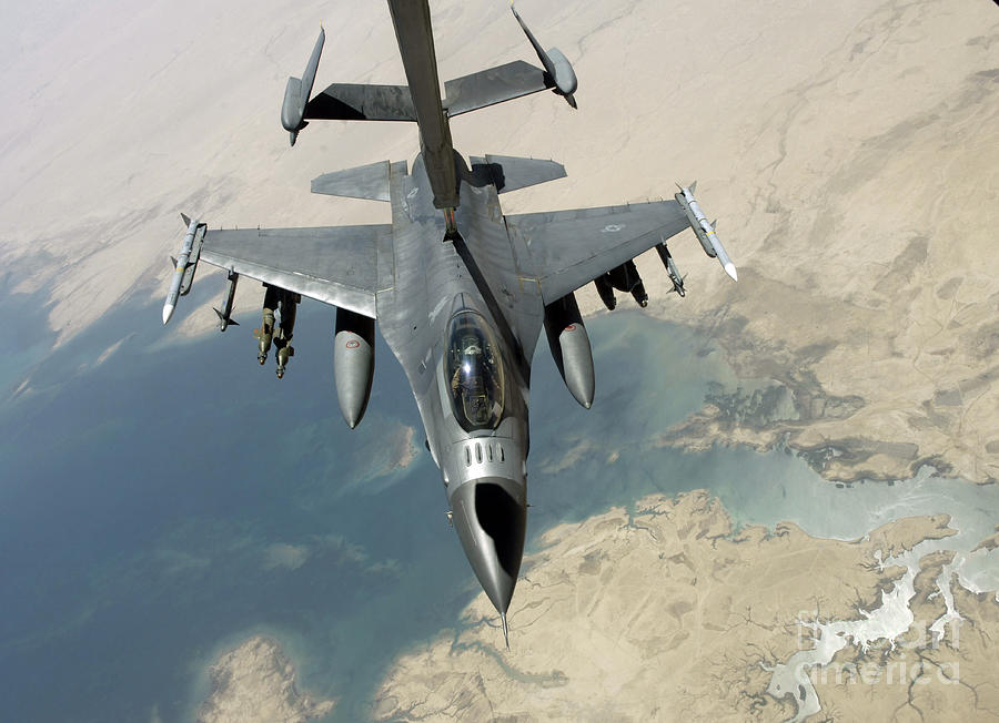 Adults Only Photograph - An F-16 Fighting Falcon Refuels by Stocktrek Images