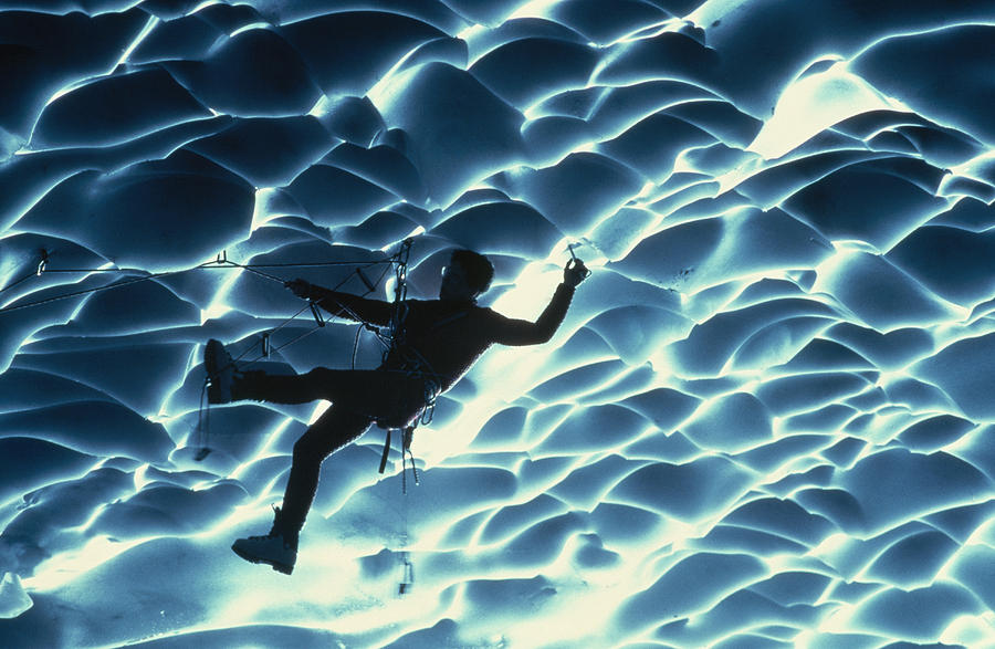 Color Image Photograph - An Ice Climber Crosses The Ceiling by Carsten Peter