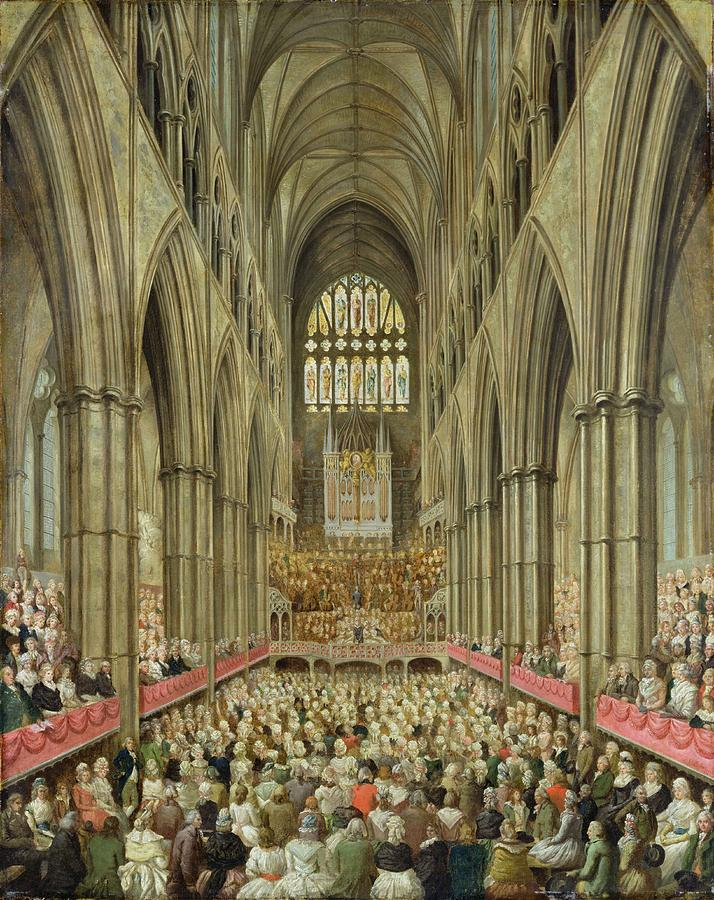 Interior Painting - An Interior View Of Westminster Abbey On The Commemoration Of Handels Centenary by Edward Edwards