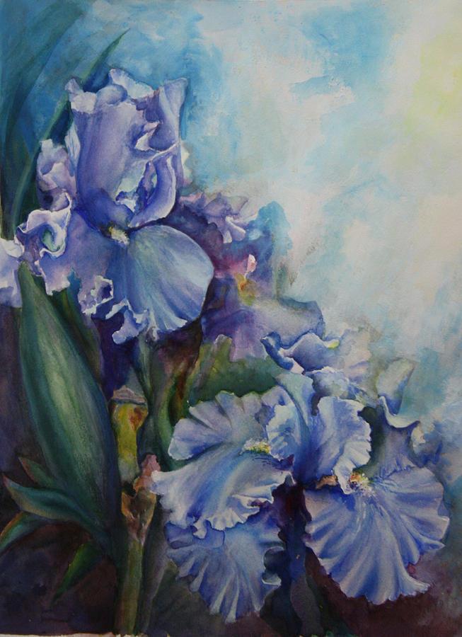 Iris Painting - An Iris for My Love by Mary Beglau Wykes