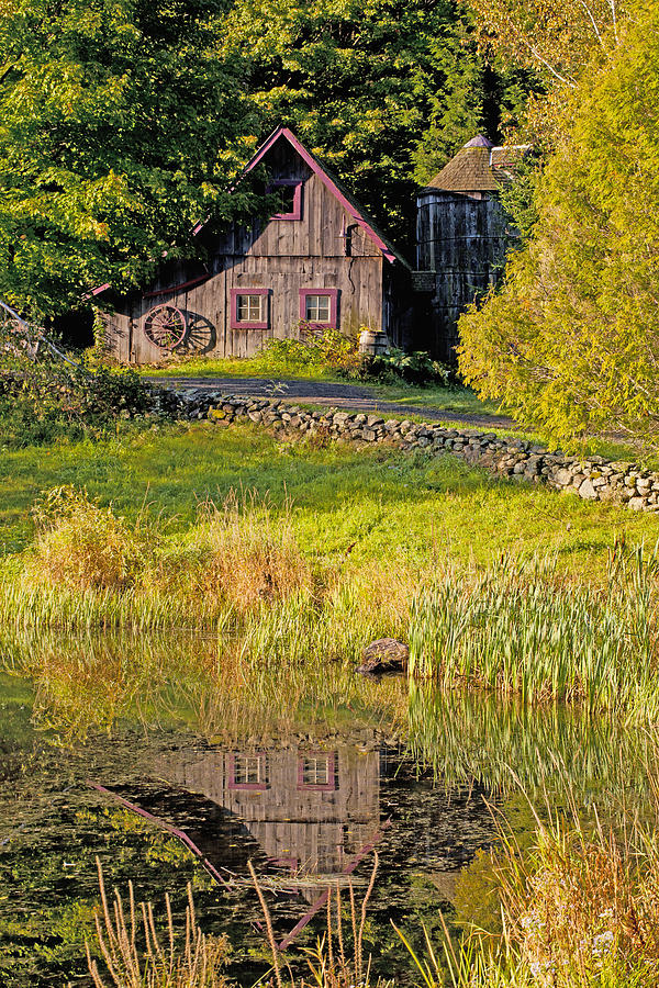 An Old Barn Reflected In The Pond Water Photograph By