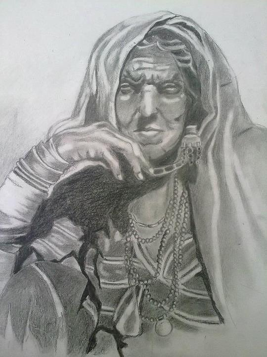 An Old Woman Drawing by Bharati Subramanian