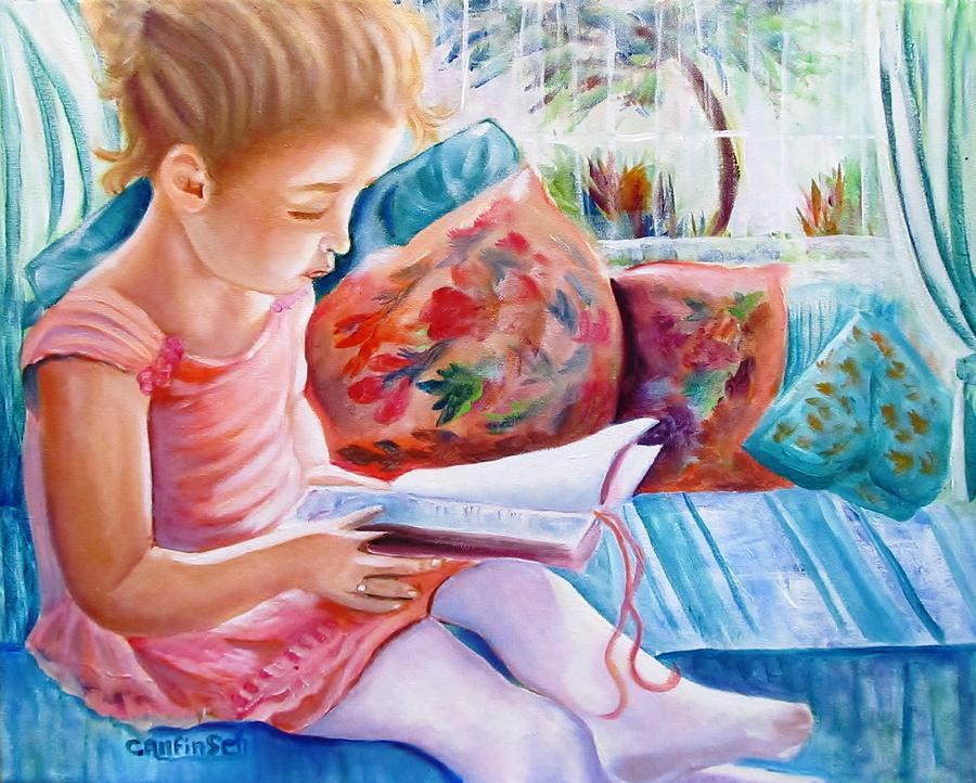 Girl Reading Painting - An Open Book by Carol Allen Anfinsen