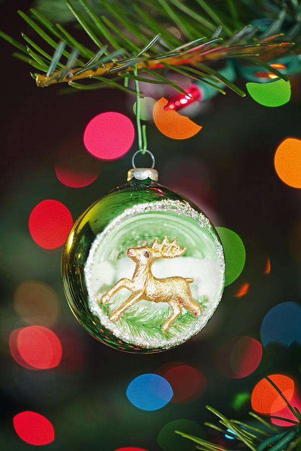 Ornament Photograph - An Ornament With A Reindeer Hanging by Craig Tuttle
