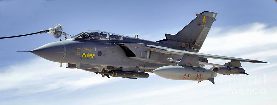 Horizontal Photograph - An Raf Tornado Gr-4 Takes On Fuel by Stocktrek Images