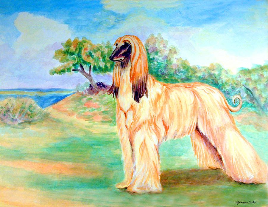 Anastazi Sun - Afghan Hound Painting by Lyn Cook