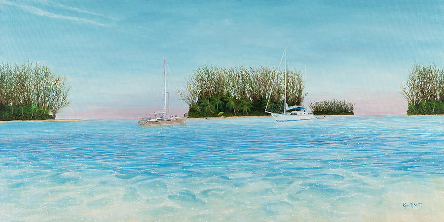 Sailboats Painting - Anchorage At Crystal Bay by Kevin Brant