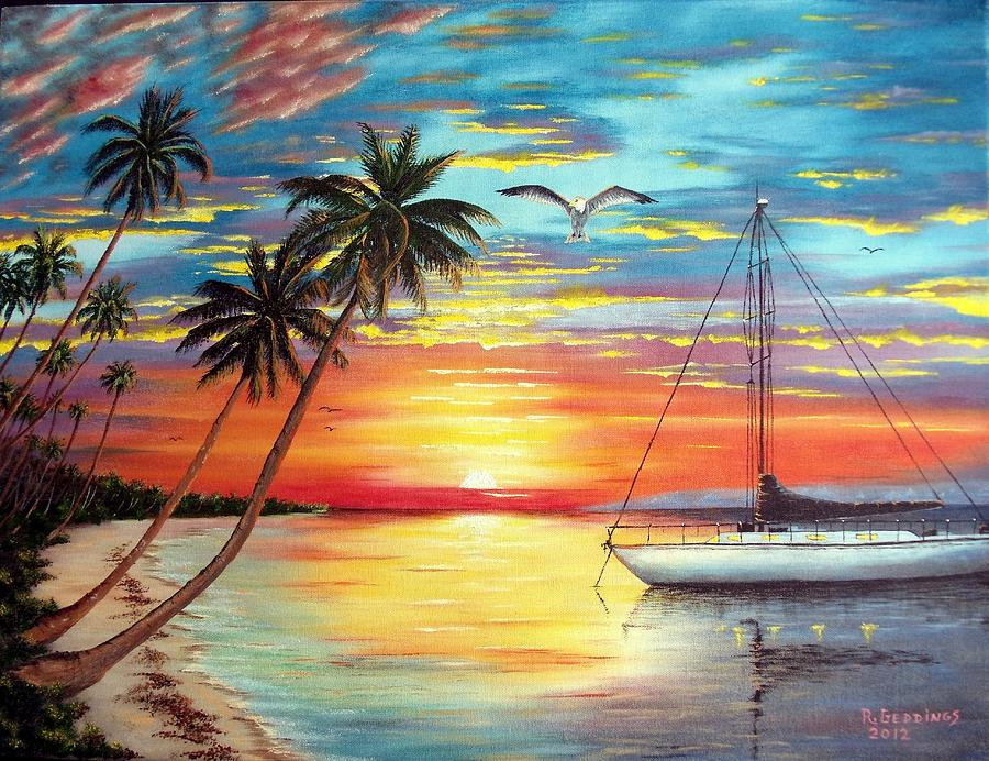 Gulf Painting - Anchored At Sunset by Riley Geddings
