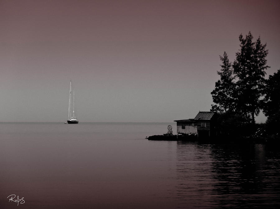 Yacht Photograph - Anchored near a Temple - Black and White by Allan Rufus
