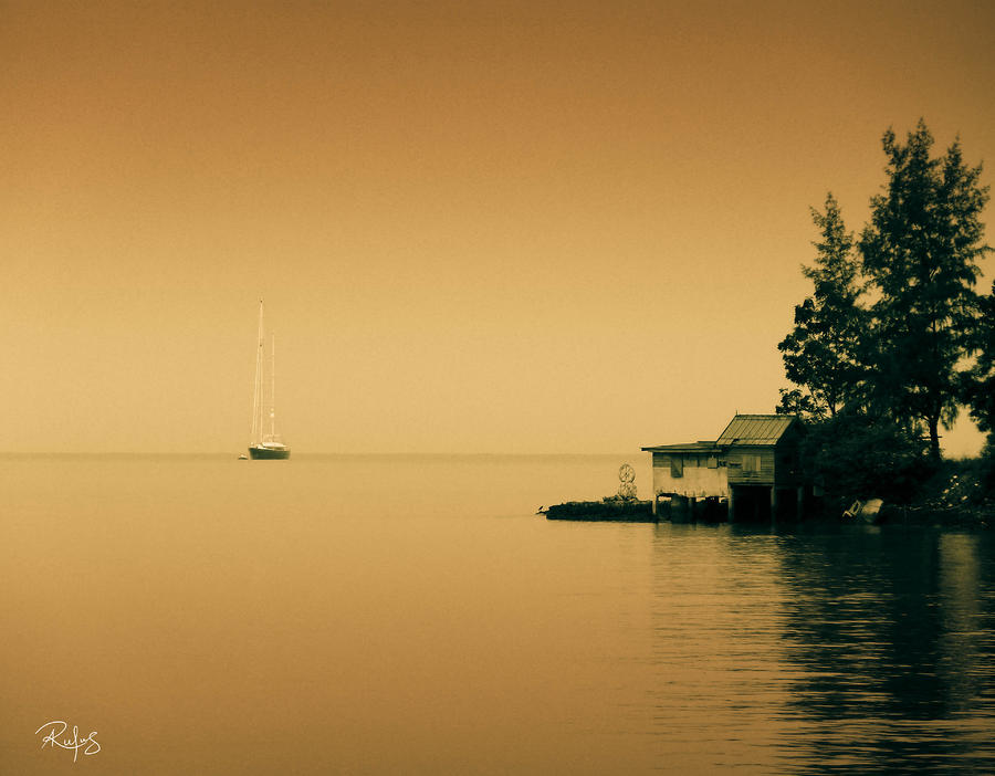 Yacht Photograph - Anchored near a Temple - Sepia by Allan Rufus