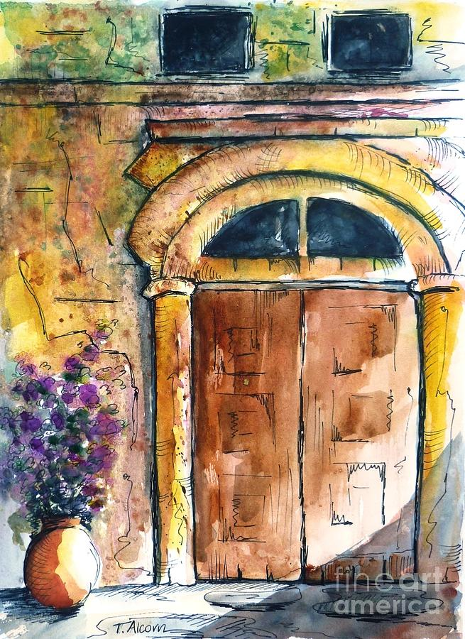 Ancient Painting - Ancient Door Of Greece by Therese Alcorn