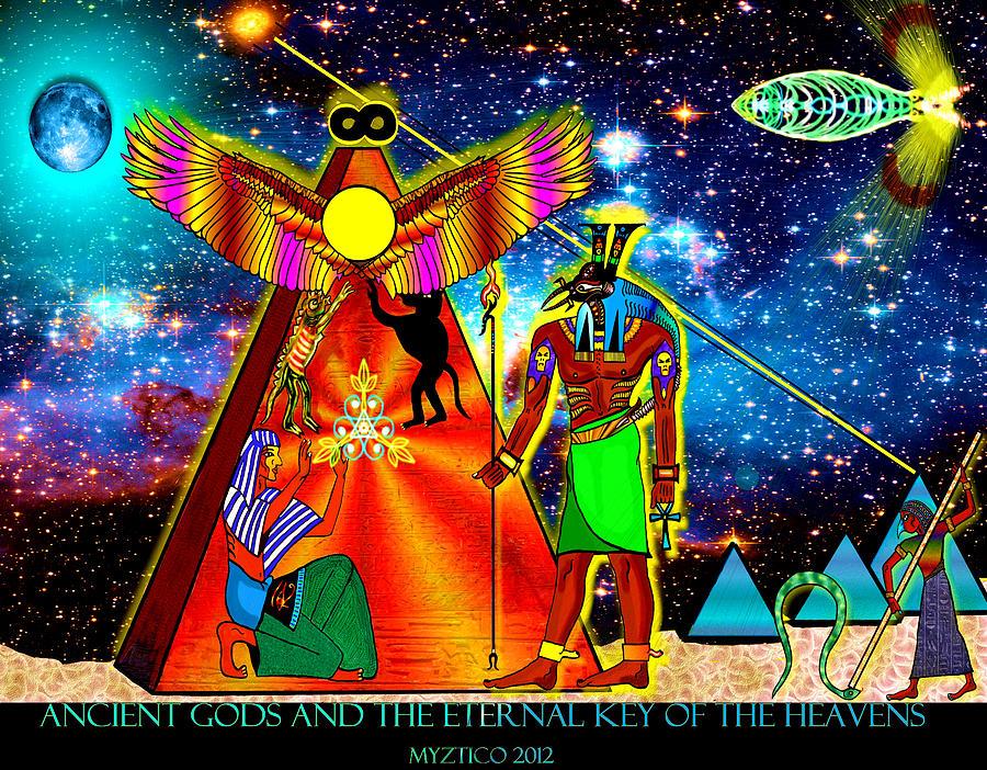 Ancient Egypt Mixed Media - Ancient Gods by Myztico Campo