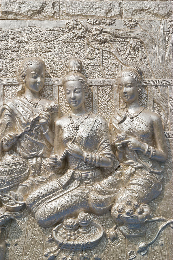 Ancient Tapestry - Textile - ancient statue on temple wall Thailand  by Wasan Gredpree