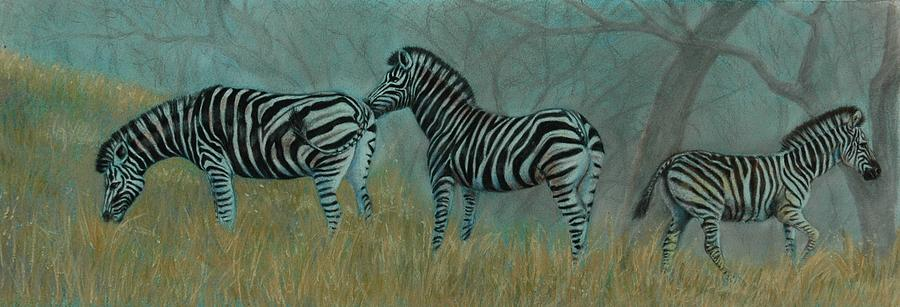 Zebras Pastel - And Baby Makes Three by Linda Harrison-parsons