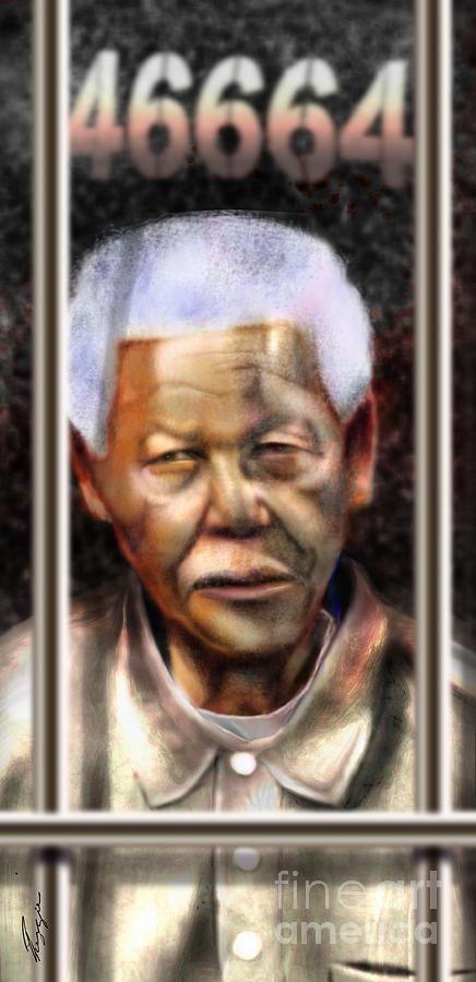 Nelson Mandela Painting - And God Remembered Prisoner 46664 by Reggie Duffie