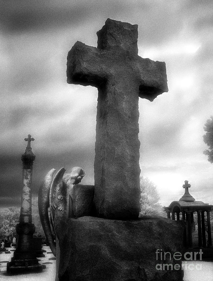 Black & White Photography Photograph - Angel And Cross by Jeff Holbrook