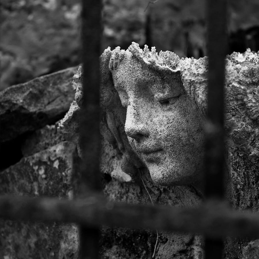 Stone Wall Photograph - Angel In Bars by David Waldo