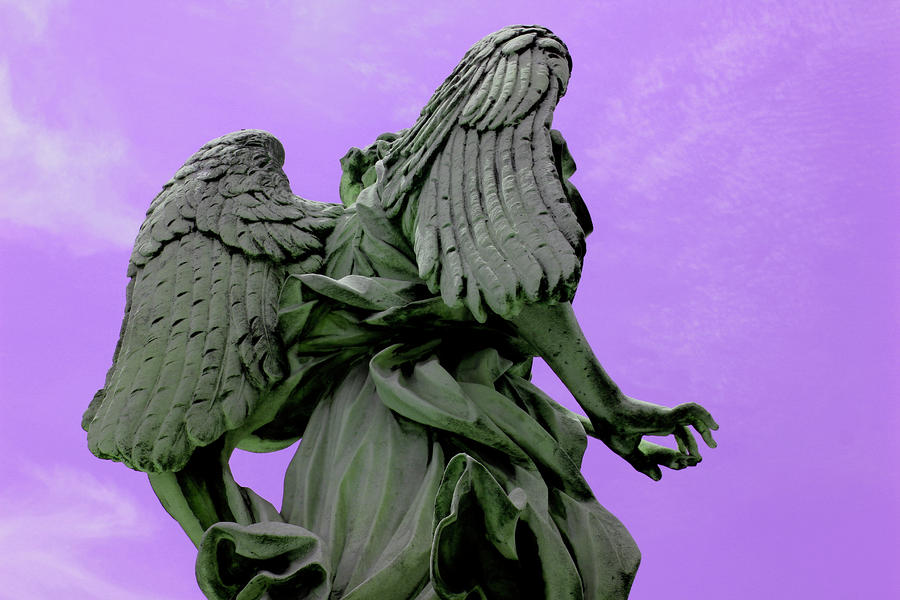 Angel Photograph - Angel In Purple Sky by Alessandria Iannece