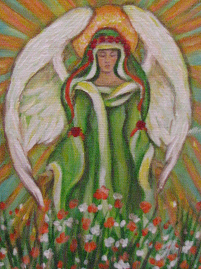 Angel Painting - Angel In The Garden by Radha Flora Cloud
