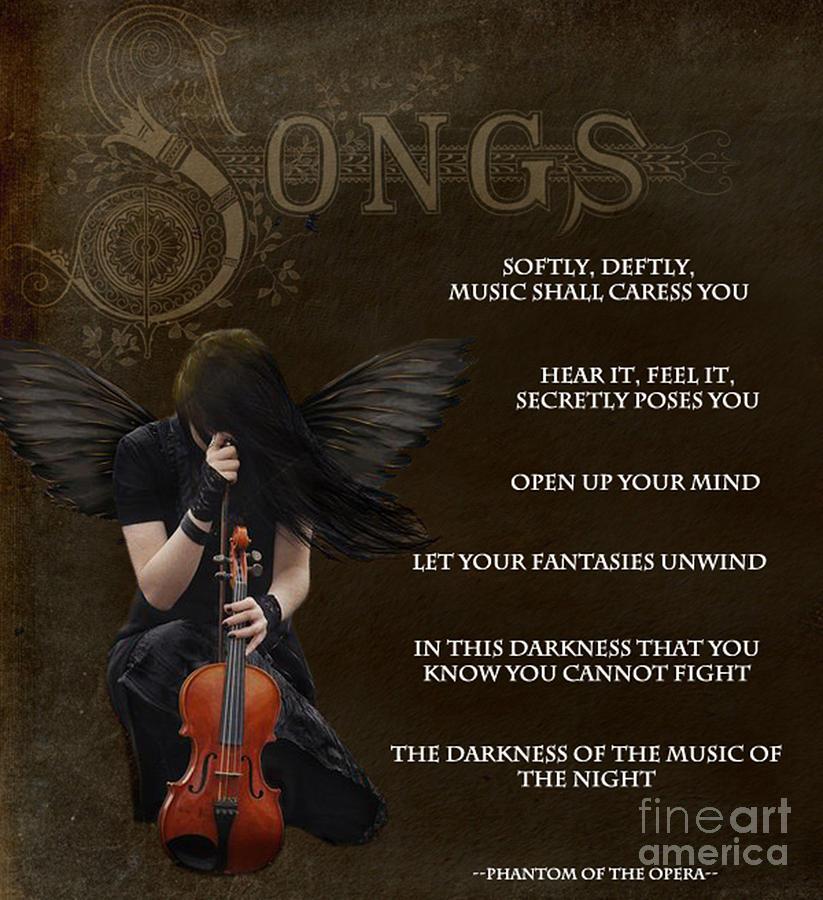 Angel Digital Art - Angel Of Music by Serena Ballard