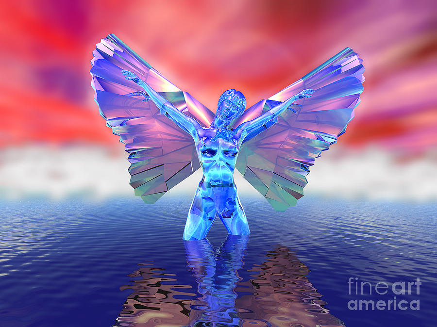 Adorable Digital Art - Angel On The Water by Ricky Schneider