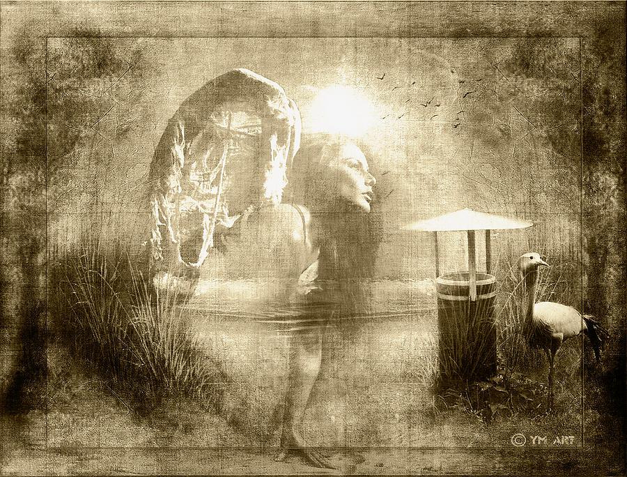 Angel Digital Art - Angel Spirit Sepia by Yvon van der Wijk