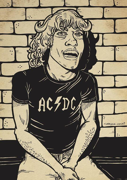 Ac Dc Drawing - Angus by Charles Cenci