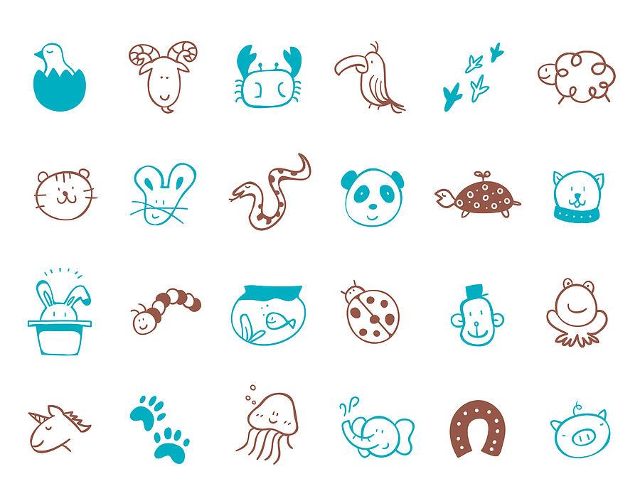 Animal Icon Set Digital Art by Eastnine Inc.