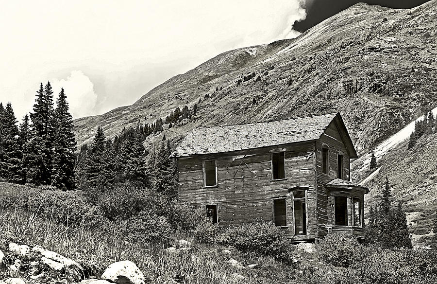 Abandoned Photograph - Animas Forks Ink Outline by Melany Sarafis