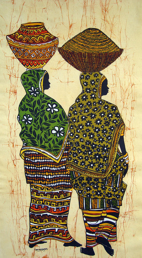 Market Tapestry - Textile - Ankole Ladies From The Market by Joseph Kalinda