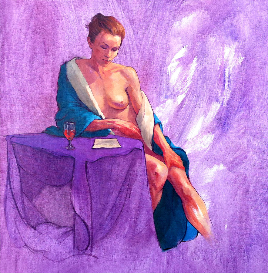 Female Nudes Painting - Annies Letter by Roz McQuillan