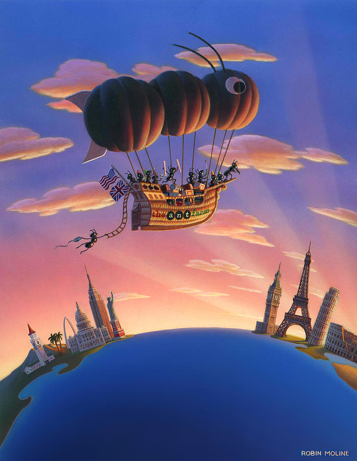 Ants Painting - Ant Airship  by Robin Moline