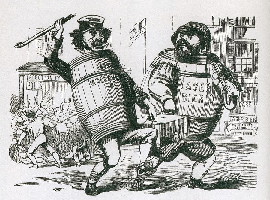 History Photograph - Anti-immigrant Cartoon Showing Two Men by Everett