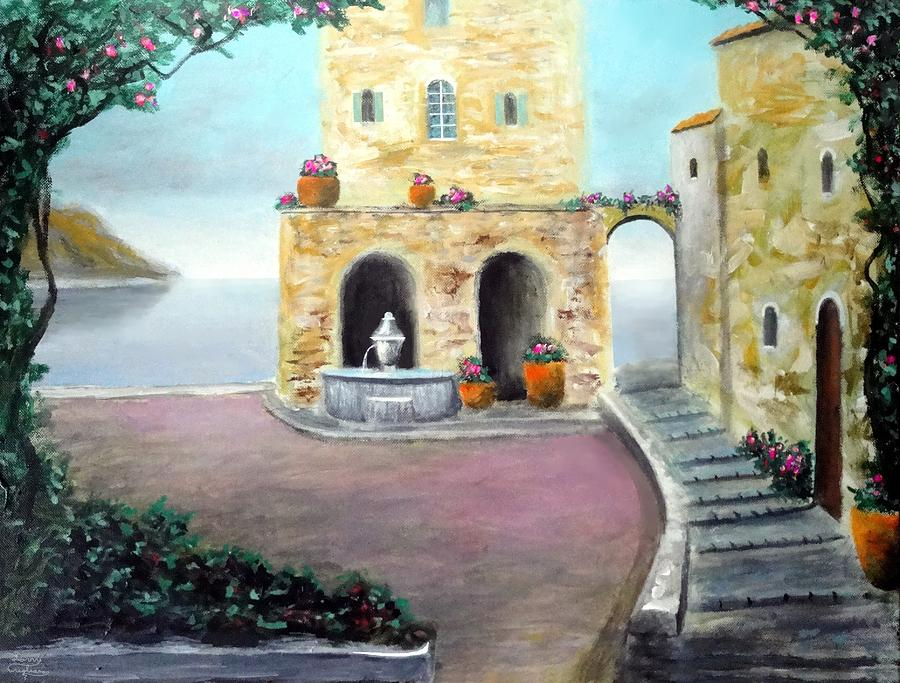 Ocean Town Painting - Antica Villa Sul Mare by Larry Cirigliano