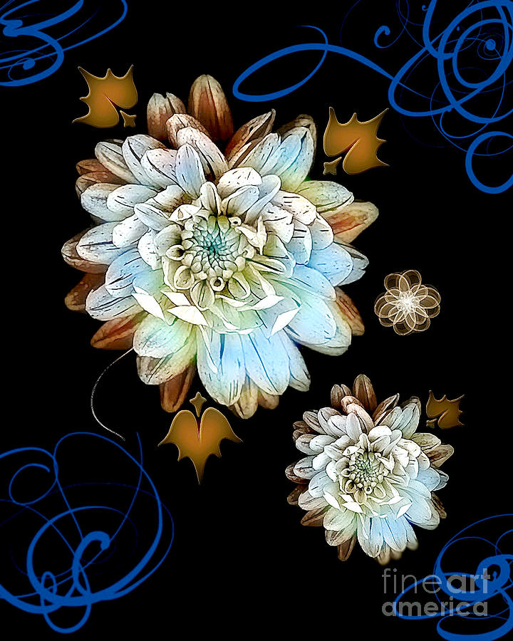 Flower Digital Art - Antique Blues by Ruth Kongaika