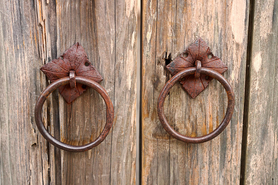 Entryway Photograph - Antique Door Pulls by Carmen Del Valle - Antique Door Pulls Photograph By Carmen Del Valle