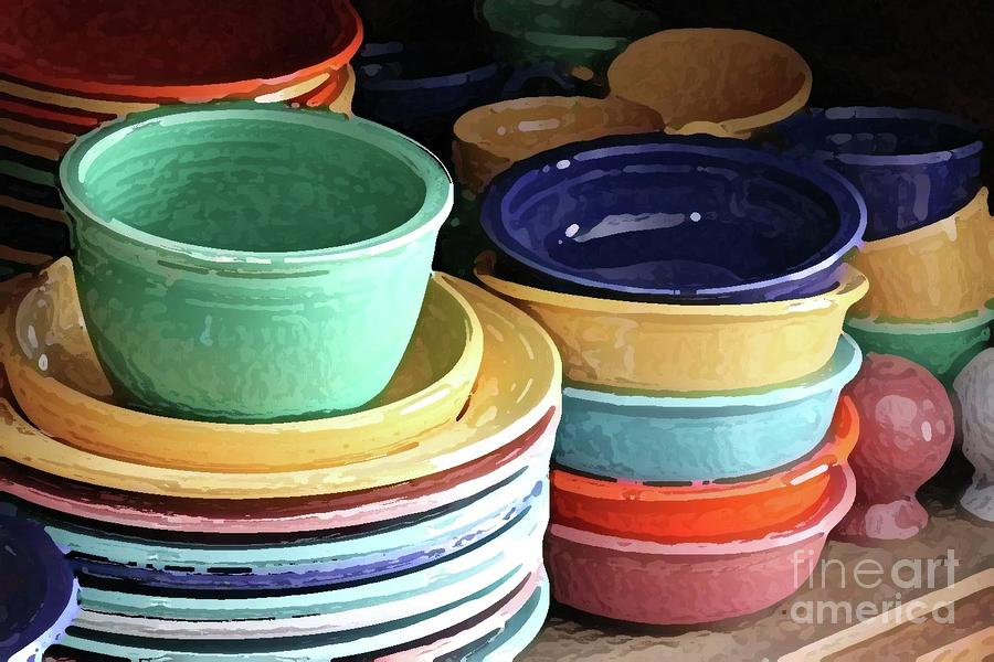 Dishes Photograph - Antique Fiesta Dishes I by Marilyn West