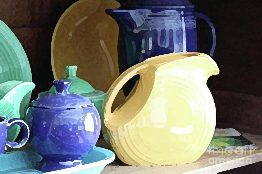 Blue Photograph - Antique Fiesta Dishes II by Marilyn West