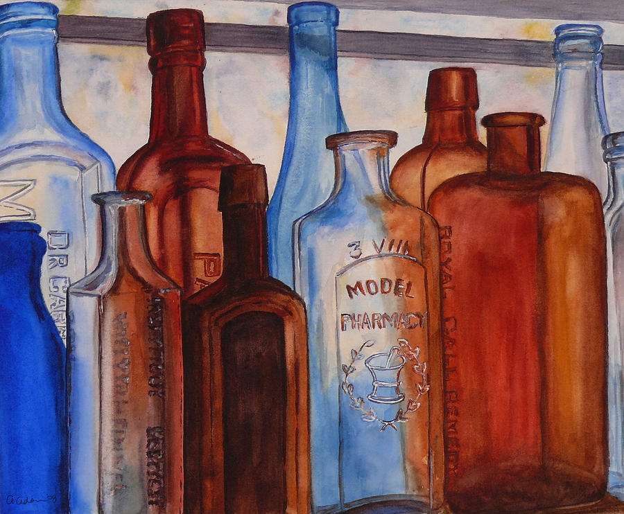 Antique glass bottles painting by angela johnson Painting old glass bottles