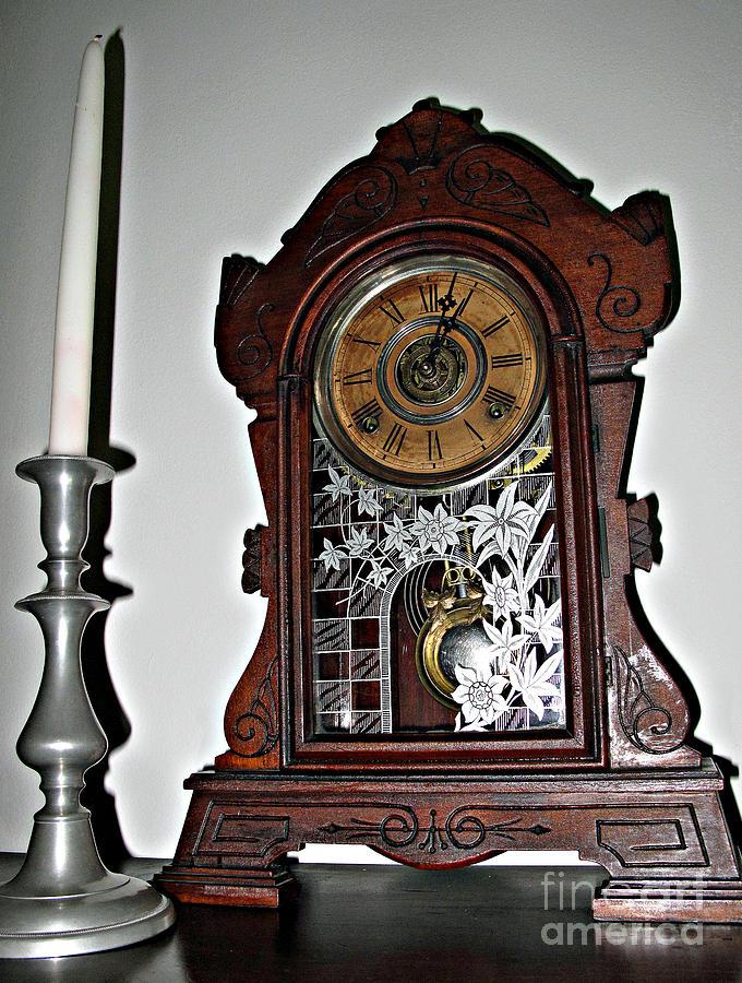 Antique Kitchen Mantle Clock Photograph By Louise Peardon