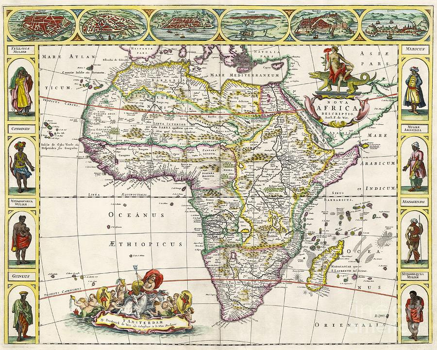 Antique Map Of Africa Drawing By Dutch School