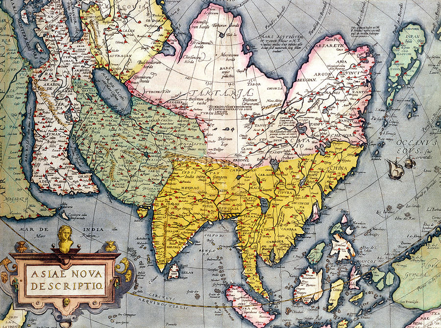 Maps Drawing - Antique Map Of Asia by Claes Jansz