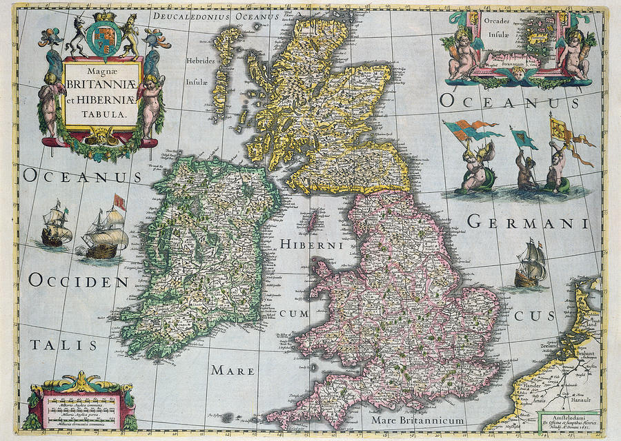 Maps Drawing - Antique Map Of Britain by English School